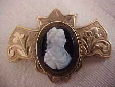 Antique Carved Hardstone Agate Onyx Cameo Brooch Hand Etched Mount
