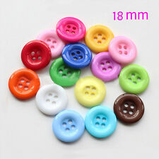 100pcs Mixed Color Resin Sewing Bottons 4 Holes 18mm Cloths Crafts Accessories