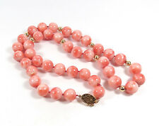VINTAGE 14K GOLD, NATURAL ANGEL SKIN CORAL BEAD NECKLACE, 61.6 GRAMS