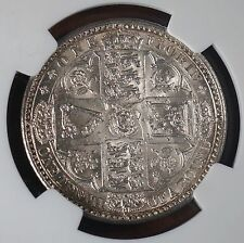 1849 Great Britain UK Godless Florin Silver Coin NGC MS62 Lustrous &  Rare