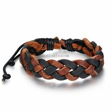 Men Women Black Brown Cord Cross Braided Leather Adjustable Wristband Bracelet