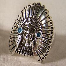 DELUXE INDIAN CHEIF HEAD  SILVER BIKERS RING #86R Fashion mens womens new unisex