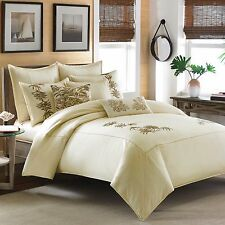 8P TOMMY BAHAMA EMBROIDRED BOTANICAL FULL/QUEEN DUVET SET BEIGE FOLAGE TROPICAL