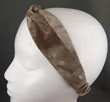 "Brown Tan tie dye turban twist stretch headband scrunch fabric 1.5"" wide turband"