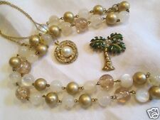 Vintage Brass PalmTree Pin Moon-glow Pearl Bead Rhinestone Necklaces Jewelry Lot