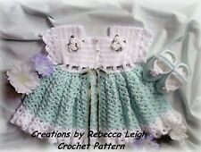"CROCHET PATTERN for ""MORNING GLORY"" Baby Dress by REBECCA LEIGH-3/6 & 12/18M"