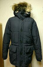 H&M L.O.G.G MENS NAVY BLUE PARKA WINTER HOODED PUFFER QUILTED COAT JACKET SIZE M
