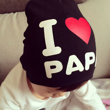 Cute Toddler Kids Boys Girls Cotton Soft Warm Knitted Hat Cap Beanie I love PAPA