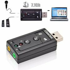 External USB Sound Card 7.1 Channel 3D Audio Adapter with 3.5mm Headset MIC