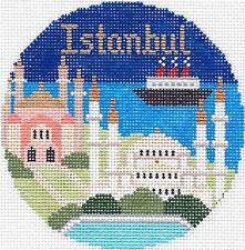 """Silver Needle ISTANBUL handpainted 4.25"""" Rd. Needlepoint Canvas Ornament"""