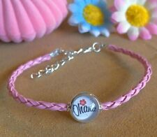 Disney Lilo And Stitch Ohana Surf Style Baby Pink PU Leather Cord Bracelet Gift