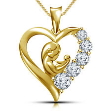 Riva jewel Mom & child Heart Pendant 14K Gold Over W/ Chain 925 Sterling SilverR