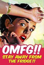 OMFG! Stay Away From The Fridge funny steel fridge magnet   (dm)