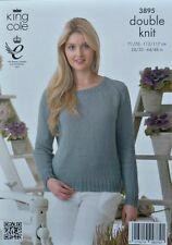 KNITTING PATTERN Ladies Long Sleeve Round Neck Jumper Cotton DK King Cole 3895