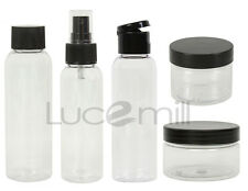 5 PIECE Clear PET Plastic BOTTLE & JAR TRAVEL SET Holiday, Airport, Carry On