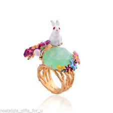 Les Nereides Jardin Imaginaire Rabbit On Faceted Glass And Flowers Ring (Size 6)