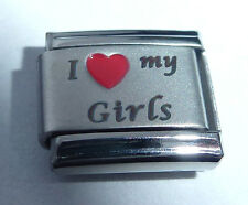I LOVE MY GIRLS Italian Charm - Red Heart 9mm fits Classic Bracelets Daughters