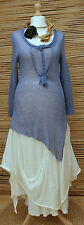 *ZUZA BART*DESIGN EXCLUSIVE BEAUTIFUL ASYMMETRICAL LINEN LONG TUNIC*BLUE*Size M
