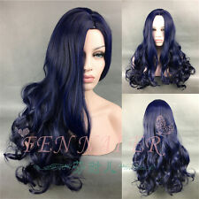 Blue Mix Black centre-parted Long wavy style beautiful women's curl full Wigs