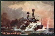 """WW1 NAVAL PATRIOTIC """"In the Thick of it""""  Battleship in Action. Tuck #8739. 1914"""