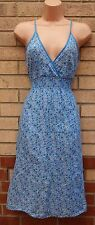 KUSHI BLUE FLORAL STRAPPY A LINE SUMMER GYPSY SKATER RARE DRESS S 8 10