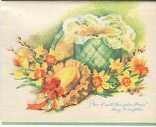 VINTAGE GREEN HAT BOX YELLOW ORANGE DAFFODILS POEM PUSSYWILLOWS CARD ART PRINT