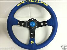 320mm Blue Leather Yellow Star Deep Dish Steering Wheel OMP MOMO Nardi Vertex