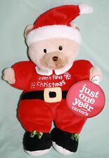 """New Carters Just One Year Santa Bear BABYS FIRST CHRISTMAS Rattle 9"""" Plush Toy"""
