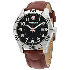 Wenger Black Dial Brown Leather Strap Men's Watch 741103