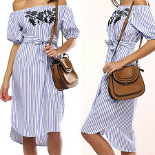 2017 Womens Ladies Off Shoulder Short Sleeve Striped Evening Party Shirt Dress