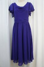 SL Fashions Dress Sz 2 Purple V Back Chiffon Evening Cocktail Dinner Dress