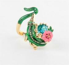Les Néréides Crocodile on Flowered Branch Ring Size 7 Adjustable