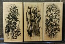 Stampin' Up EARLY SPRING Set of 3 Wood Mounted Rubber Stamps Lot Flower