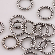200Pcs Tibet Silver Twist-Rings Loose Spacer Beads Charm Jewelry Findings 8mm