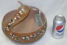 LARGE HAND PAINTED GOURD BASKET BOWL ~ PINK ROSES ~ EASTER ~ SPRING ~ POTPOURRI