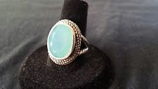 925 Sterling Silver Ring Genuine Aqua Chalcedony Fashion Jewelry in India 8