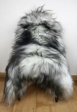 Medium Black/Grey Fleck on White/Ivory Genuine Icelandic Real Fur Sheepskin Rug