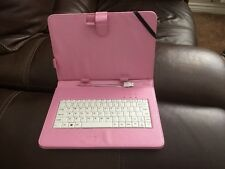 "10 ""Inch PU Leather Pink Case Cover USB Keyboard  for Android Tablet Fits Most"