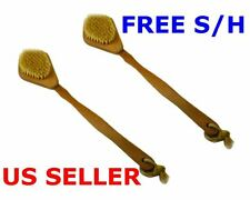 "2 Pack - Natural Oak Handle Shower Back Body Scrubber 16"" Spa Bath Brush NEW"