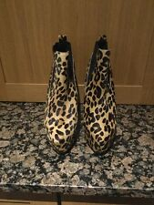 UNIQUE ANIMAL PRINT OFFICE HIGH HEELED ANKLE BOOTS / UK 6 WORN ONCE/WITH DEFFECT