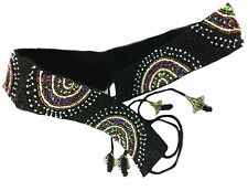 Belly Dancer Beaded Belt Black 88cm Ties Adjustable Aztec Surf Gypsy Festival