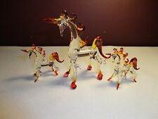 Set of 3 Unicorns Red Yellow Clear Figurine of Blown Glass Crystal