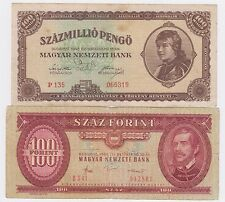 Hungary Banknote -100 MILLIO PENGO 1946 + 100 Forint 1984 - 2 PCS !