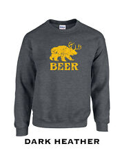 185 Beer Crew Sweatshirt cool graphic bear wilderness drink drunk college funny