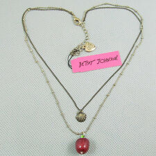 N871 Betsey Johnson Gem Dangling Apple Eden Garden Apple Chain Shell Necklace US