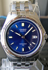 Casio MTP1213A-2AV Men's Blue Analog Watch Steel Band Date Display Casual New