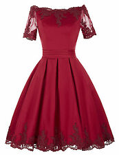 Women 50's Burgundy Vintage Short Sleeves Evening Party Swing Casual Lace Dress