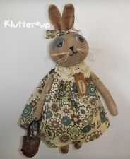 BONNIE BUNNY-Country Primitive Prim Antique Style Fabric Girl Doll Folk Art