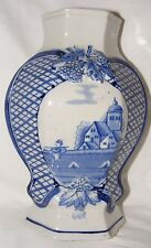 ANTIQUE DELFT BLUE & WHITE HAND PAINTED VASE FACETED BALUSTER VASE PASTORAL 9""