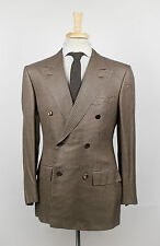 New D'AVENZA for AVI ROSSINI Brown Silk Double Breasted Sport Coat 48/38 S $2995